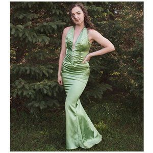 Green Halter Fitted Satin Rhinestone Art Deco Gown